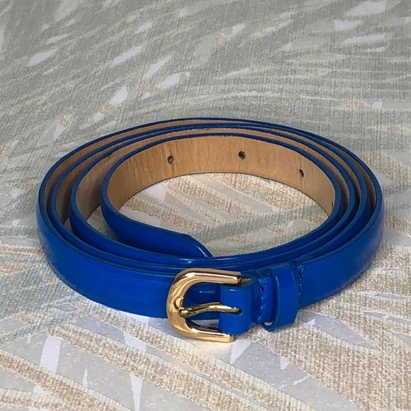 J Crew Blue Patent Leather Skinny Belt, Large